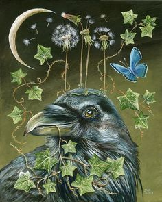 ACEO PRINT OF PAINTING RYTA RAVEN CROW STATUE LANDSCAPE SPRING GREEK GODDESS ART