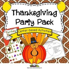 This  party pack has all the Thanksgiving activities you need to survive your Thanksgiving party and reinforce learning. Our center-based Thanksgiving activities will add a little bit of order to the chaos. We have provided you with literacy, math, art, and food-related Thanksgiving activities. Included: Thanksgiving activities like: -Turkey scoot for addition and subtraction -Sight word cornucopia cards -Cornucopia craftivity -Past and Present Thanksgiving feast