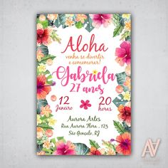 Convite Tropical Havai - Arte digital Aloha Party, Hawaiian Luau Party, Moana Birthday Party, Luau Birthday, Tropical Party, 1st Birthday Parties, Flamingo Birthday, Flamingo Party, Creative Wedding Invitations