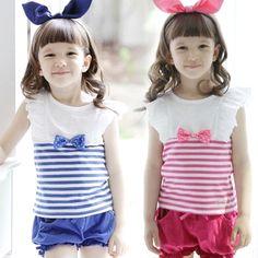 Aliexpress.com : Buy 2014 summer bow stripe girls clothing baby child casual set tz 0387 on Kids Fashion Clothing - Worldwide Wholesale .