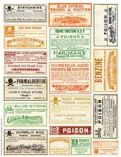 Vintage Medical Pharmacy Poison Labels Set 3a Halloween Colored Printable Digital Collage Sheet