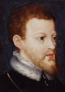 Philip II of Spain, son of Emperor Charles V. Mary I of England married Philip in 1554 against the wishes of Parliament. The portrait  may have been produced the year after the marriage to commemorate the couple's union.