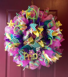 Spring Easter Cheveron deco poly mesh full size wreath Bright Ready to ship by KristianaWreaths on Etsy https://www.etsy.com/listing/225127125/spring-easter-cheveron-deco-poly-mesh