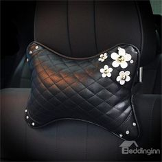 Girly Elegant Daisy ornament High-grade Leather Car Neckrest Pillow