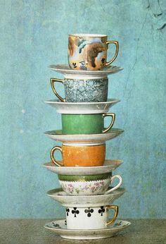 Bone china cups & saucers ~