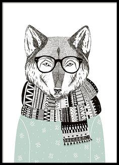 Mooie poster met illustratie van een vis en knappe vos. Mooi grafisch geïllustreerd motief in doffe kleuren waar u blij van wordt. Net zo mooi in de kinderkamer als in een postercollage op de muur van de woonkamer.www.desenio.nl