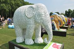 "If you prefer your ""Elephant Parade London (2010)"" not in a moving show (as this is http://pinterest.com/pin/175218241724786727/), click through for this Flickr photostream. As a librarian, I'm rather fond of this one with print, shown: ""41. Travels On My Elephant,"" by Hung --, via Flickr"""