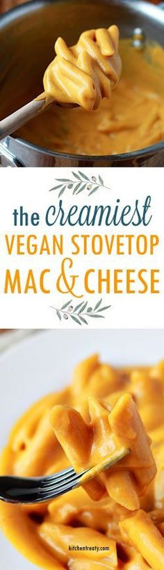 "Vegan Stovetop Mac and ""Cheese"" recipe - made with sweet potatoes, butternut squash, and other mainstream real-food ingredients. No weird stuff here - just pure vegan macaroni and cheese-like deliciousness! paleo diet with dairy Cheese Recipes, Whole Food Recipes, Cooking Recipes, Dishes Recipes, Pasta Recipes, Recipies, Vegan Foods, Vegan Dishes, Paleo Diet"