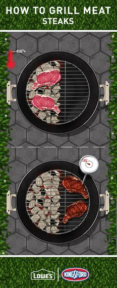 When grilling steaks, start by searing them over high-heat Kingsford® coals for 2-3 minutes per side. Move to indirect heat until they reach your preferred doneness (135º for medium rare). And always let them rest for five minutes to lock in those delicious juices.