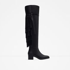 ZARA - PROMOCIJA - FLAT LEATHER BOOTS WITH FRINGE