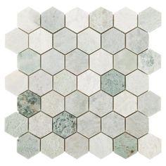 Caribbean Green Hexagon Tumbled Marble Mosaic – 12 x 12 – 100052604 - Pantry Stone Tile Flooring, Stone Backsplash, Stone Tiles, Kitchen Backsplash, Stone Mosaic, Backsplash Ideas, Tile Ideas, Wood Flooring, Bathroom Flooring