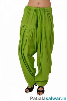 Plain Parrot Green Patiala Salwar