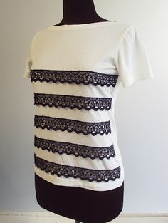 Refashion Co-op: Breton-Effect Lace Embellished T-shirt