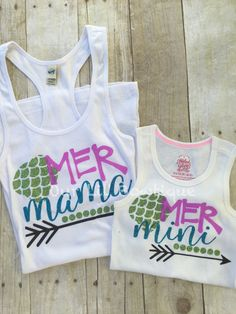 Mermaid Mommy & Me Tank Top - Mommy and Me Tanks - Mer Mama - Mer Mini - Mini Me - Mermaid Shirts by OurLilBowtique