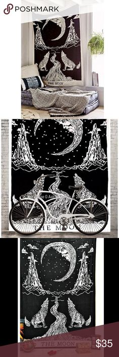 Moon tarot wall tapestry Brand new, unused. The moon tarot with wolf design. 86x55 inches. Screen printed, sheer woven material. Can be hung or used as queen size bed spread, beach blanket, towel, table cloth, etc Urban Outfitters Other