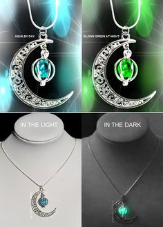 A stunning silver/aqua pendant crescent moon necklace by day, and at night it glows green in the dark! These beautiful and mystcial pendant necklaces have a small, glow in the dark crystal bead inside.