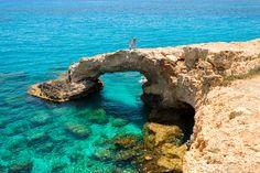 Cyprus bridge of lovers not far from Ayia Napa with joyful tourists