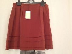 Nwt $684 Bally Silk Skirt Brick, Size 6 No Reserve #Bally #Mini