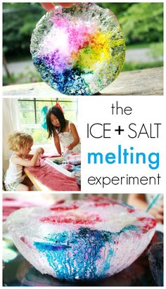 This melting ice science experiment uses salt to melt tunnels in the ice and color to highlight the tunnels. Beautiful and fun for kids and adults alike!