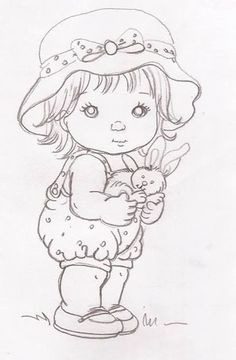 Embroidery Ideas For Kids Sweets 23 Super Ideas Girl Drawing Sketches, Baby Drawing, Art Drawings Sketches Simple, Pencil Art Drawings, Tole Painting, Fabric Painting, Cute Coloring Pages, Coloring Books, Relaxing Art
