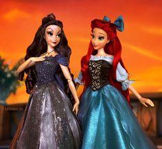 Vanessa and Ariel Disney Princess Dolls, Disney Dolls, Disney Princesses, Mermaid Disney, Ariel Disney, Ariel Doll, Olivia Hussey, Jade, Disney Artwork