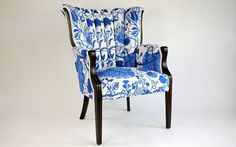 This ain't your grandmother's chair! Blue floral pattern and dark chocolate finish updates an old, classic chair. Everything But The House, Leather Recliner Chair, Love Chair, Eames Chairs, Ikea Chairs, Bar Chairs, Contemporary Fabric, Blue Leaves, Painted Chairs