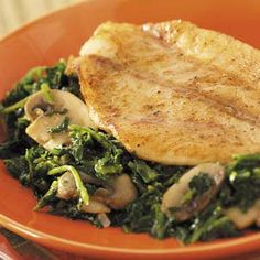 Skillet Fish with Spinach Recipe  looks like something I make all the time