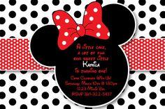 Personnalisé à pois rouge et noir Minnie Mouse Invitation ou carte Merci (fond de pois noir et blanc)
