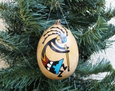 Southwestern Hand-painted Gourd Christmas by AChristmasbyCarol
