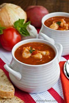 Italian Fish Chowder - Chunks of tender fish in a zesty tomato broth - so good!  A taste of coastal New England in a bowl!