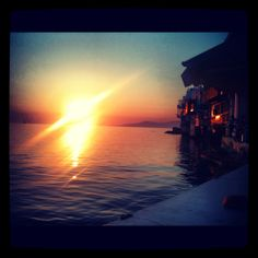 The famous sunset in Mykonos, Greece