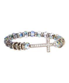 Look at this #zulilyfind! Blue & Silvertone Uptown Cross Stretch Bracelet #zulilyfinds