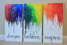 Canvas wall art set Melted Crayon Art Large Canvas Set of 3 Wall art quote Office decor Wall Art Canvas quote Canvas Art Living Room Decor
