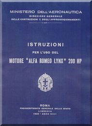 Alfa Romeo Lynx Aircraft Engine Instruction Manual  ( Italian Language )