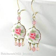 Shabby Cottage Chic Roses Earrings #shabbychic #earrings #roses #jewelry #spring