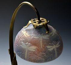 Rare Daum Nancy Antique Glass Art Nouveau Bronze Mounted Dragonfly Table Lamp