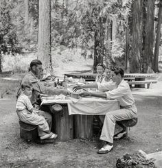 """July 1942. """"Klamath Falls, Oregon. Picnickers in city park."""" Medium format nitrate negative by Russell Lee for the Office of War Information."""