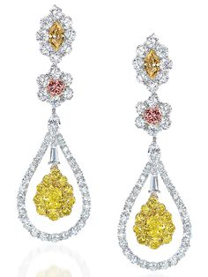 Cellini Jewelers ~ Natural intense yellow diamond and fancy pink diamond earrings. Pink Diamond Earrings, Women's Earrings, Fashion Earrings, Yellow Jewelry, Colored Diamonds, Yellow Diamonds, Beautiful Earrings, Jewelery, Fine Jewelry