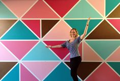 How To Paint A Geometric Wall Mural by @BrownPaperBunny