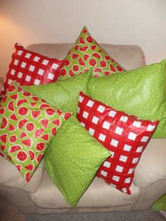 classroom pillows from vinyl tablecloths! easy to clean! Make floor size pillows for storytime.