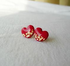 Red and gold heart post earrings Delicate by DivineDecadance, $15.00