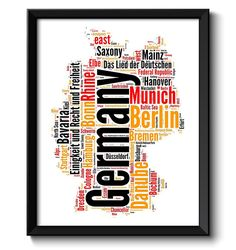germany text word cloud map typography poster print red yellow black country europe modern abstract minimalist landscape wall art