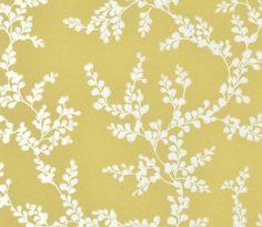 Shadow Fern Floral Wallpaper Metallic silver shadow fern print on strong yellow wallpaper.