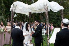 Simple chuppah ceremony found on Modern Jewish Wedding Blog