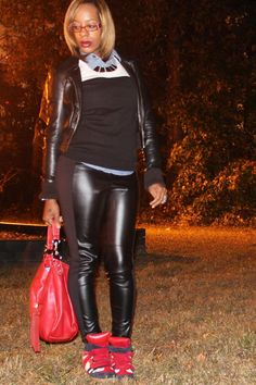 Lifestyles of the Thrifty and Shameless: I'm Thankful...For Paneled Leather Pants and Sneaker Wedges