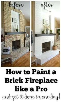 How to Paint a Brick Fireplace like a Pro. Three easy steps to paint your outdated brick fireplace in only one day.