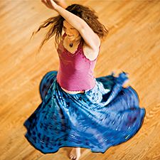 Contradancer, barefoot and in a swirl of skirt. I'm ready to take her hand for the next move.