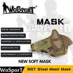 WoSporT 새로운 전술 장난감 총 마스크 반 낮은 얼굴 금속 그물 사냥 보호 페인트 군사 Amry 소품 파티 CS