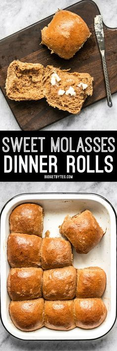 The earthy flavor and subtle sweetness of molasses makes these Sweet Molasses Dinner Rolls the perfect addition to your fall holiday table. @budgetbytes