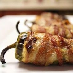 Bacon-Wrapped Jalapeno Poppers - yummy but SPICY and PLEASE FOR THE LOVE OF GOD WEAR GLOVES WHEN PREPPING